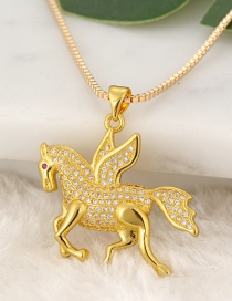 Fashion Gold Color Horse Pendant Decorated Necklace