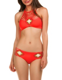 Sexy Red Flowers Decorated Hollow Out Swimwear