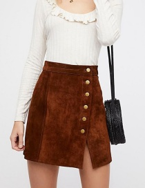Fashion Brown Button Decorated Pure Color Skirt