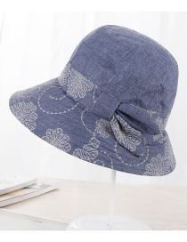 Fashion Blue Flower Pattern Decorated Hat