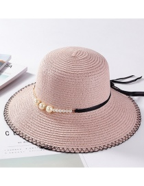 Fashion Pink Pearl Decorated Hat