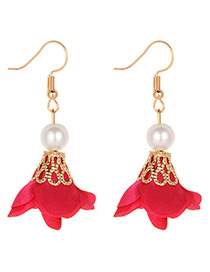 Fashion Plum Red Flower Shape Decorated Earrings