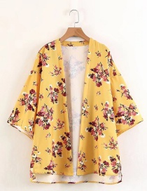 Fashion Yellow Flower Pattern Decorated Kimono