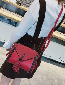 Fashion Red Tassel Decorated Pure Color Bag