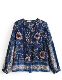 Fashion Navy Tassel Decorated V Neckline Blouse