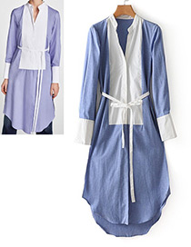 Fashion Blue+white Color-matching Decorated Long Sleeves Dress
