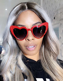 Fashion Red+black Heart Shape Design Sunglasses
