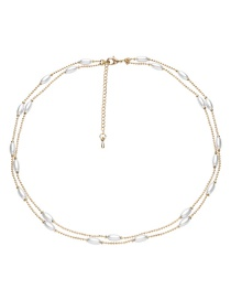 Elegant Gold Color+white Double Layer Design Pearl Decorated Necklace