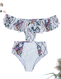 Sexy White Flower Pattern Decoratd One-piece Swimwear