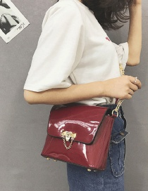 Fashion Claret Red Pure Color Decorated Bag
