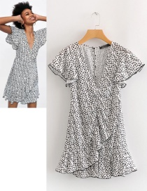 Fashion White+black Dots Pattern Decorated V Neckline Dress