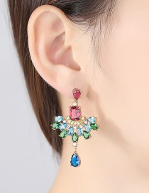 Fashion Pink+green Geometric Shape Diamond Decorated Earrings