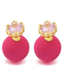 Fashion Gold Color+plum Red Balls Shape Design Simple Earrings