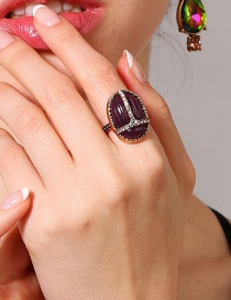 Fashion Purple Oval Shape Decorated Ring