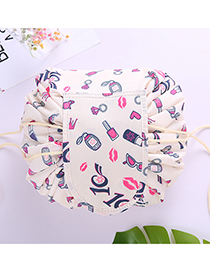 Fashion Beige Lips Pattern Decorated Cosmetic Bag