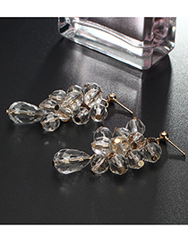Fashion Transparent Waterdrop Shape Decorated Earrings