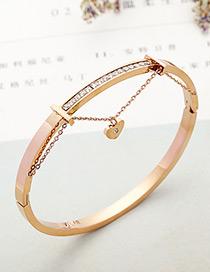 fashion Rose Gold Heart Shape Decorated Bracelet