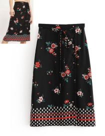 Fashion Black Flowers Pattern Decorated Simple Skirt