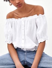 Fashion White Pure Color Design Off Shoulder Blouse