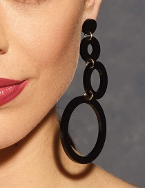 Fashion Black Circular Ring Decorated Long Earrings