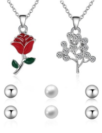 Fashion Silver Color Rose Pendant Decorated Jewelry Sets(5pcs)