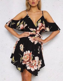 Fashion Black Flower Pattern Decorated V Neckline Dress