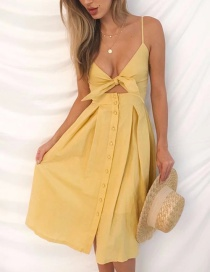 Fashion Yellow Pure Color Decorated Dress