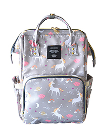 Fashion Gray Unicorn Pattern Decorated Backpack
