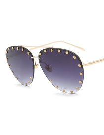 Fashion Purple Rivet Decorated Sun Glasses