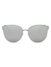 Fashion Gray Pure Color Decorated Sun Glasses