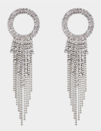 Fashion Silver Color Tassel Decorated Pure Color Long Earrings
