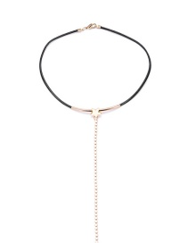 Fashion Gold Color Long Tassel Decorated Choker
