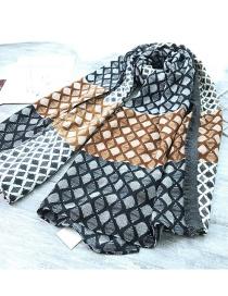 Fashion Black Grid Pattern Decorated Dual-use Scarf