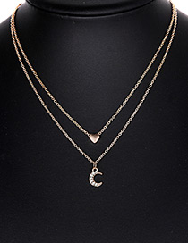 Fashion Gold Color Moon Pendant Decorated Double Layer Necklace