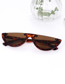 Fashion Brown Half Framed Shape Design Sunglasses