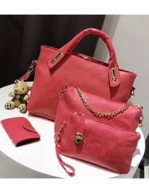 Fashion Plum Red Pure Color Decorated Shoulder Bag (4 Pcs )