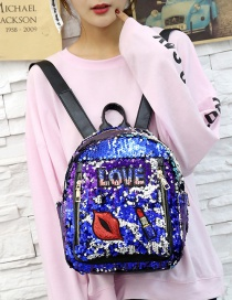 Fashion Blue Lips Pattern Decorated Backpack