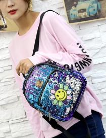 Fashion Blue Flower Pattern Decorated Backpack