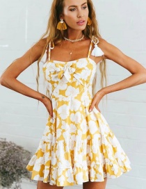 Fashion Yellow Flower Pattern Decorated Suspender Dress