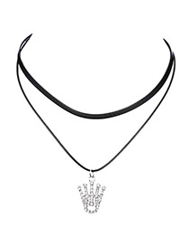 Fashion Balck Crown Shape Decorated Necklace