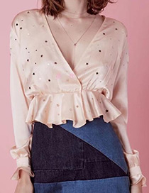 Fashion Beige V Neckline Design Star Pattern Blouse