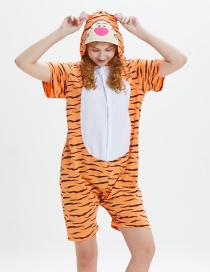 Lovely Orange Tiger Pattern Decorated One-piece Pajamas(for Adult)