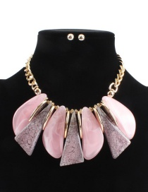 Fashion Pink Irregular Shape Design Simple Necklace(not Set)