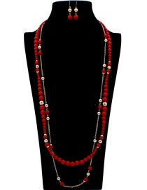 Fashion Red Pearls Decorated Double Layer Jewelry Sets