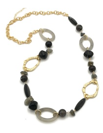 Fashion Black Circular Ring Decorated Long Necklace