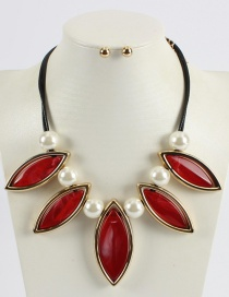 Fashion Red Pure Color Design Leaf Shape Necklace (not Set)