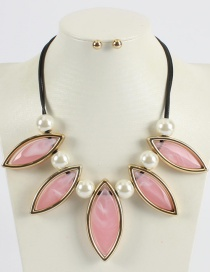 Fashion Pink Pure Color Design Leaf Shape Necklace (not Set)