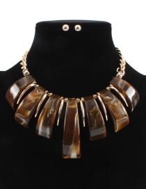 Fashion Coffe Pure Color Design Irregular Shape Necklace(not Set)
