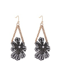 Fashion Black Flowers Shape Decorated Long Earrings