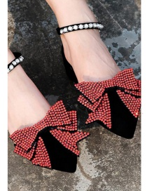 Fashion Red Full Diamond Design Bowknot Shape Shoes Accessories(1pc)